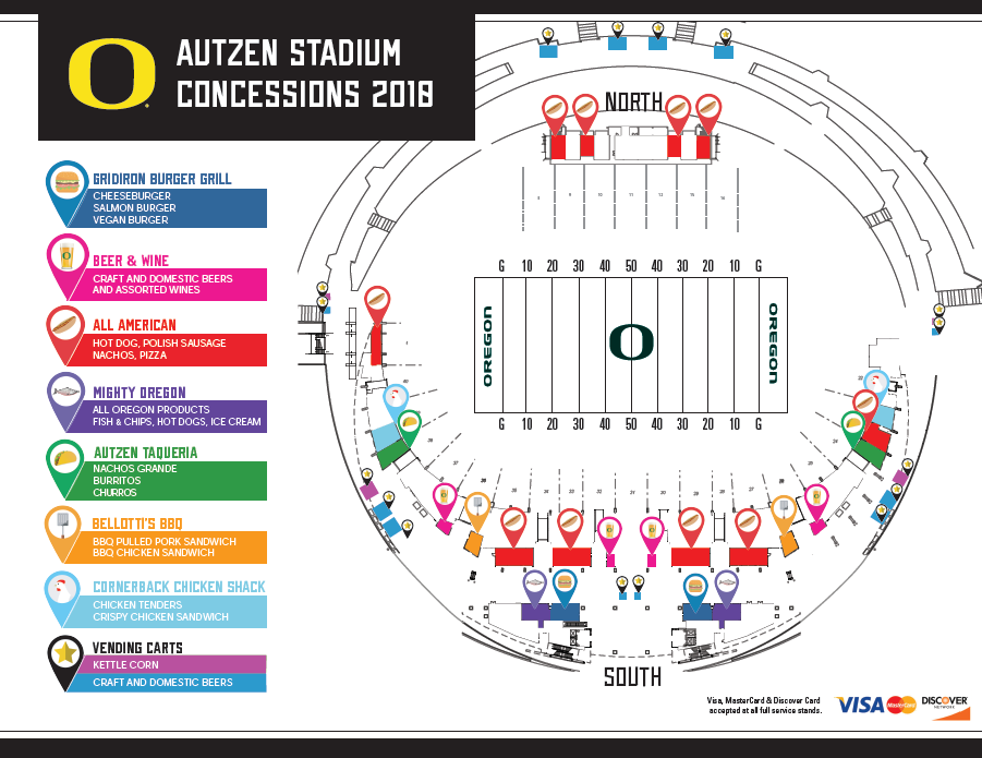 Autzen Stadium Food And Beverage Menu Click Here To View A Map Of Locations